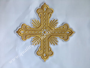 "Cross White Gold Embroidered 5"" 12 cm Liturgical Vestment sew on READY TO SHIP"