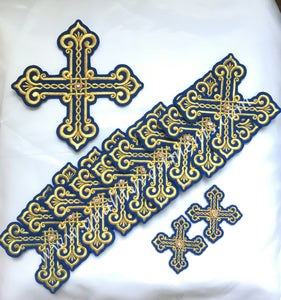 Crosses for Deacon Vestments Blue Gold 10 pc set