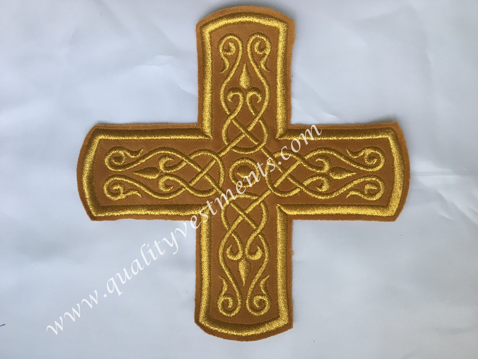 "Cross Antique Gold Embroidered 6 1/4"" 16 cm Liturgical Vestment sew on READY TO SHIP"