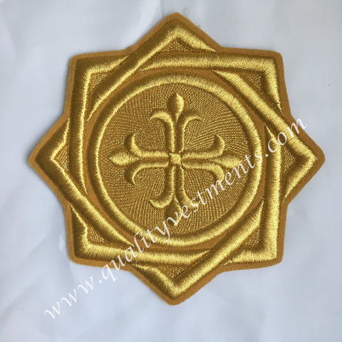 "Star Kustodia Antique Gold Liturgical Vestments sew on embroidered 6"" (15 cm)"