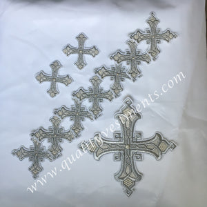 Cross Set White Silver for Deacon Vestments 10 pc set READY TO SHIP!