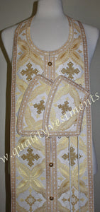 "White Gold Communion set Stole with cuffs 42.5"" 108 cm READY TO SHIP!"