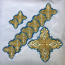 Blue Gold Crosses for Deacon's Vestments 10 pc set READY TO SHIP!