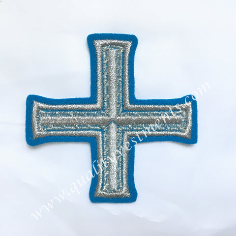 "Cross Blue Silver  Embroidered 5"" 12 cm Liturgical Vestment sew on READY TO SHIP"