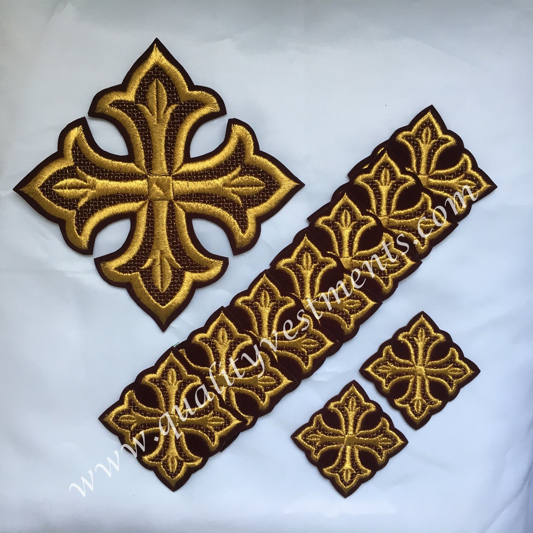 Cross Set Maroon Burgundy GOLD Deacon's Vestments 10 pc set READY TO SHIP!