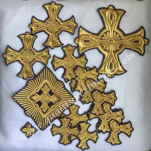 Crosses for Priest vestments  14 pc set Dark purple with gold Cross Star