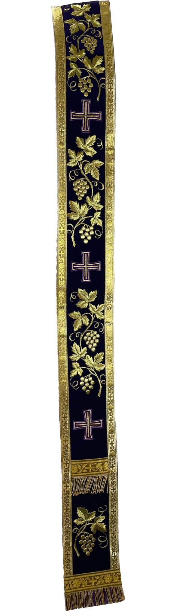 "Purple Orar Orarion Stole Grapevine embroidery 111"" long READY TO SHIP FROM US"