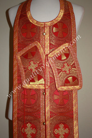 "Red Sick call set Stole with cuffs Ready made 47""middle seam"