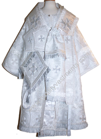 Orthodox Bishop's White Vestments Metallic Brocade White Omophor TO ORDER
