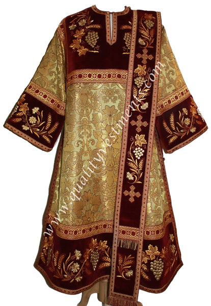Gold Deacon's Vestments Embroidered Velvet METALLIC brocade TO ORDER!