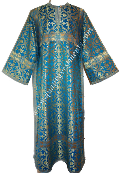 Blue Deacon's Vestment Greek orarion Nonmetallic Brocade Cross pattern TO ORDER