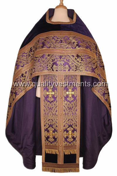 Purple Priest Vestments Orthodox Metallic Brocade German Velvet TO ORDER