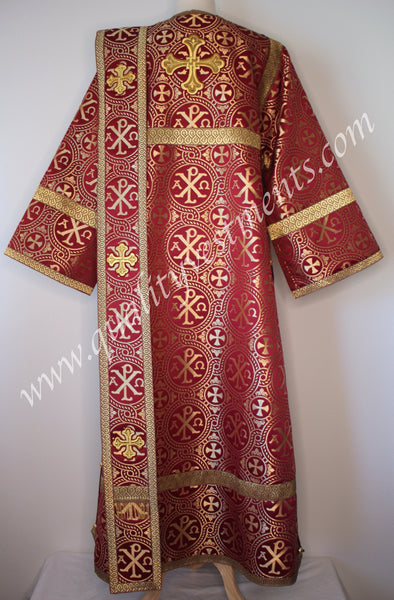 Maroon Red Deacon's Orthodox Vestment Apha Omega NONMETALLIC brocade TO ORDER