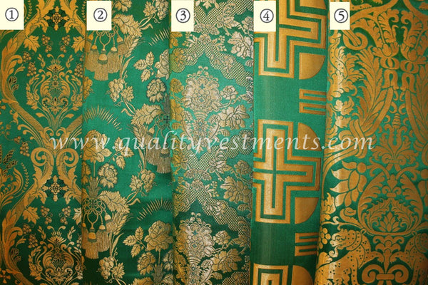 Green Liturgical Brocade for Vestments Cross Pattern Lion Grapevine Metallic.