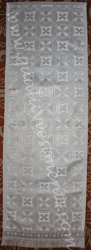 Analoi Church stand cover White silver metallic brocade 15
