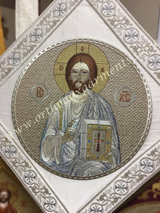 "Epigonation Christ Palitza silver color 14"" 35 cm ea side"