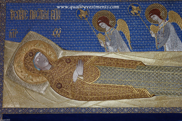 "Shroud of Theotokos Mother of God w Angels blue gold32"" x 42""   82cm x 106 cm"