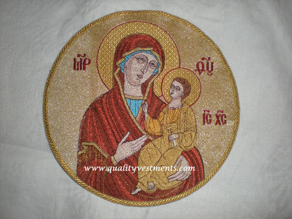 "Church Liturgical Embroidered Icon Mother God Theotokos Iverskaya 9 1/2"" 24 cm"