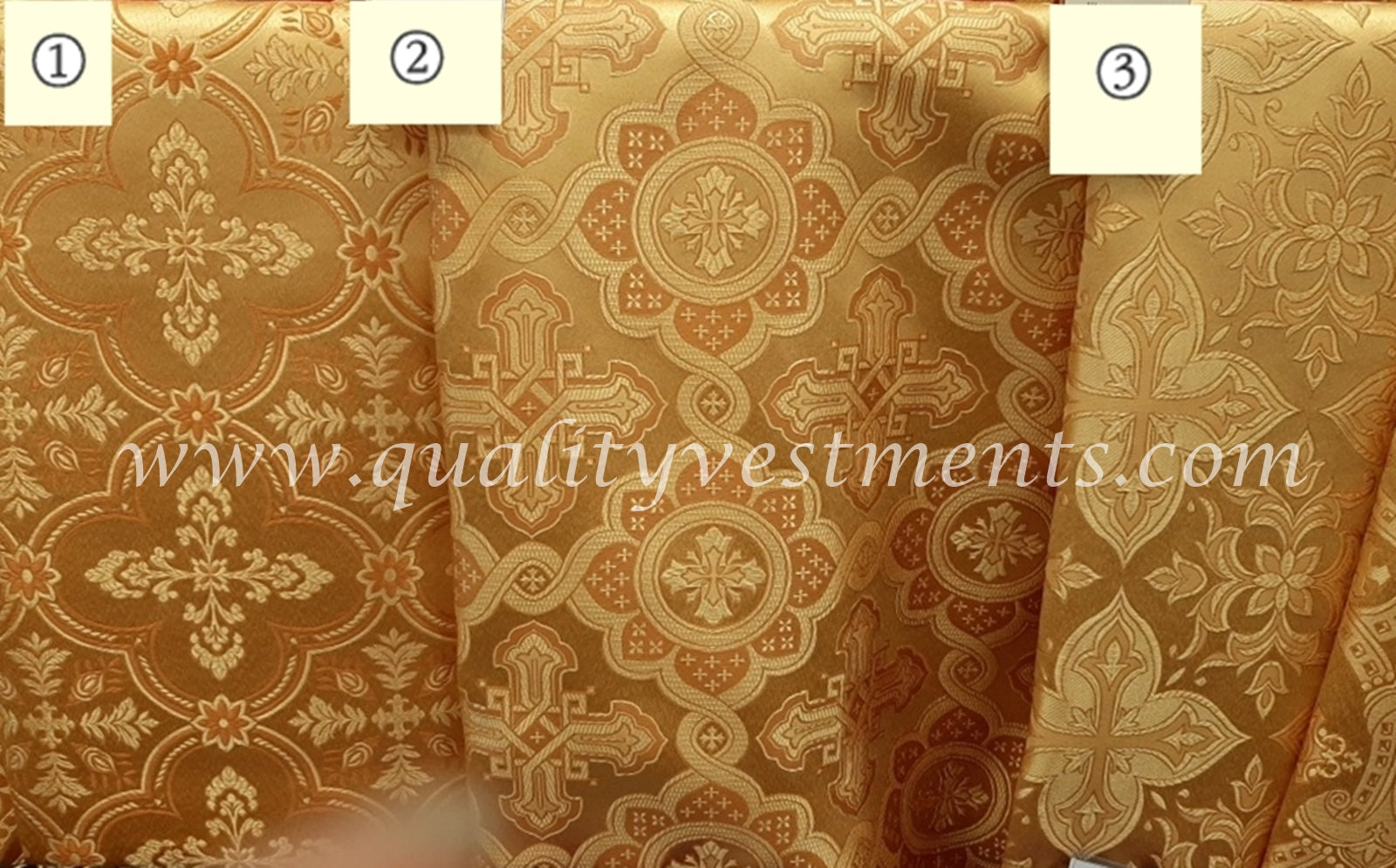 "Liturgical Fabric Antique Gold Vestment Brocade Cross Pattern  59"" 150 cm wide"