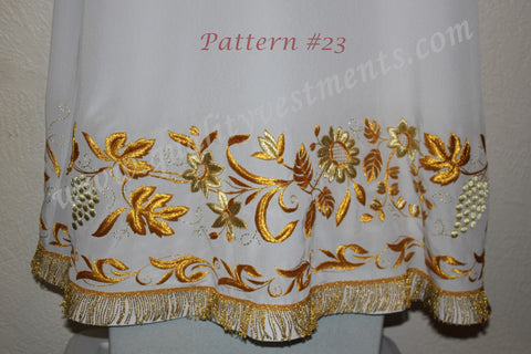 White Stikhar Alb Podsaccossnik Podriznik Embroidered Gold or Silver #23