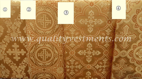 "Gold Church Brocade Liturgical Fabric Cross Pattern Nonmetallic 59"" 150 cm wide"