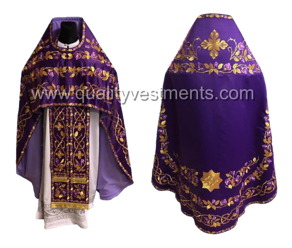 Purple Priest's Vestment FULLY Embroidered Rose pattern Russian Style TO ORDER