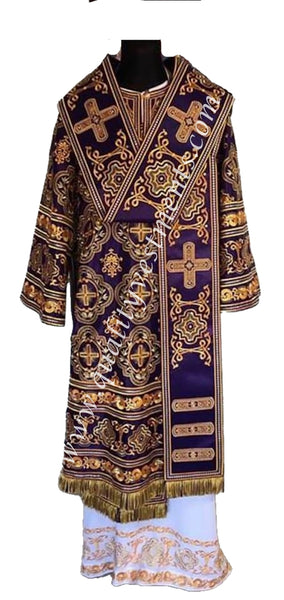 Purple Bishop's Vestments Embroidered LIGHTWEIGHT fabric EMBROIDERED TO ORDER