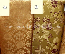 "Cross Pattern Liturgical Fabric Antique Gold Nonmetallic 59"" 150 cm"
