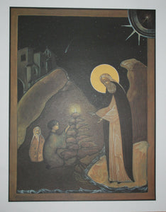 "Saint Herman of Alaska blessing the children Print of the icon  20"" x 15 3/4"""