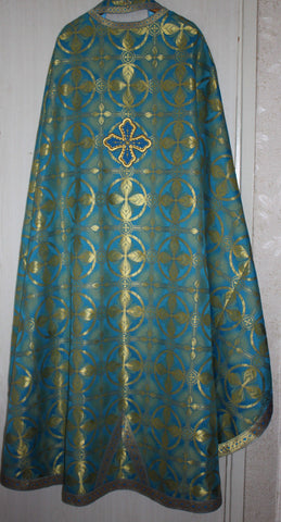 Priest Russian Orthodox Greek style vestment vestments Blue Nonmetallic Brocade