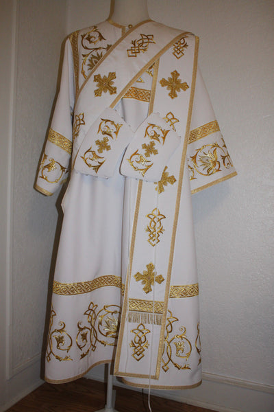 Proto Deacon Russian or Greek Orthodox Vestment  Embroidered WHITE or any color