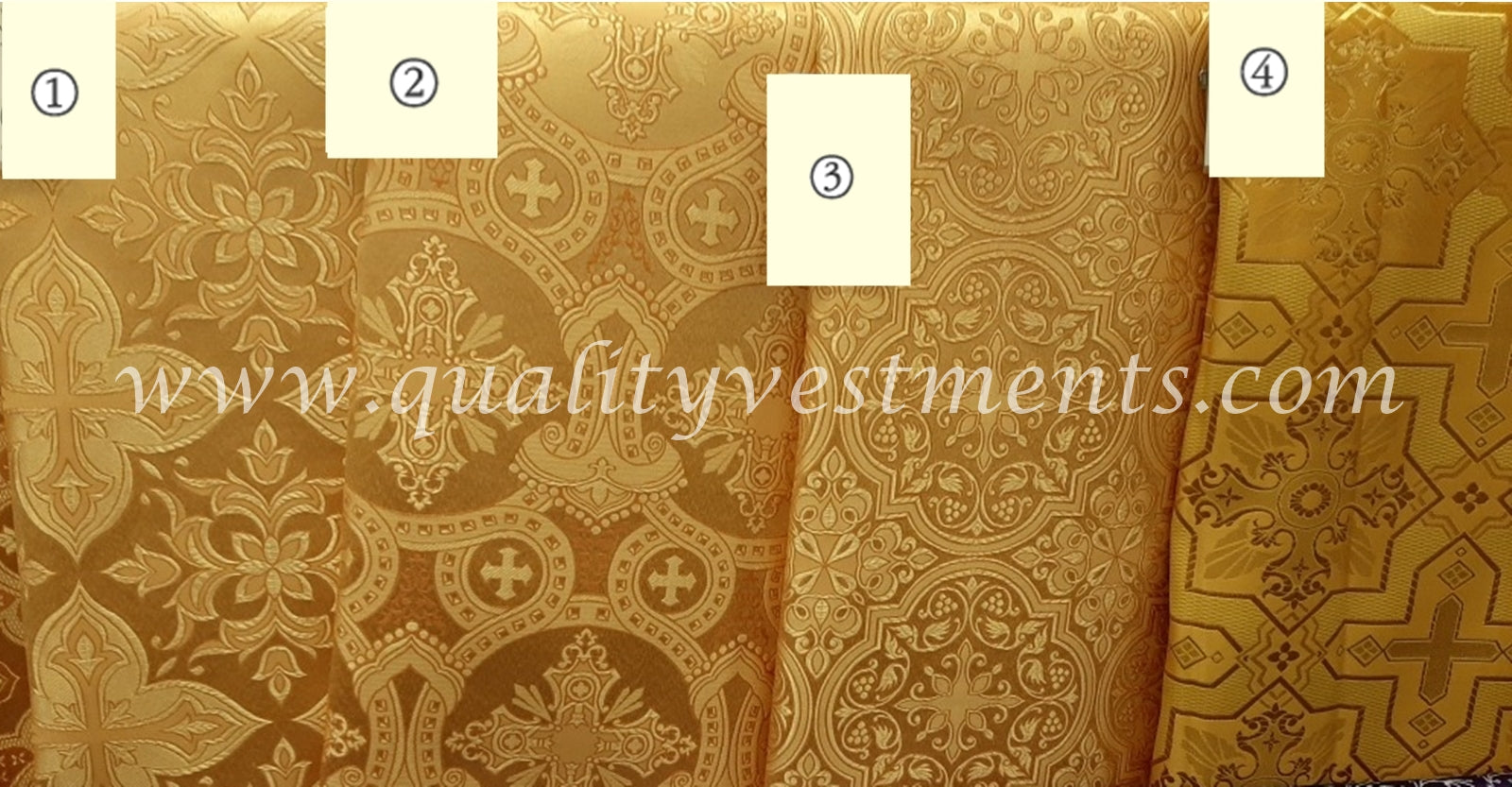 "Vestment Brocade Gold Liturgical Fabric Cross Nonmetallic Brocade 59"" 150 cm w"