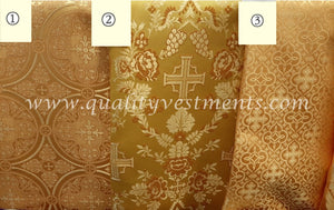 "Antique Gold Vestment Brocade Cross Pattern Liturgical Fabric 59"" 150 cm wide"