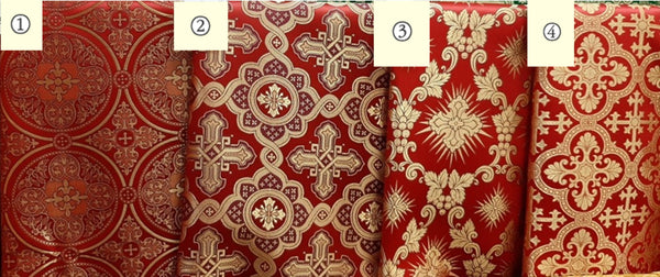 "Red Liturgical Fabric Cross pattern nonmetallic brocade 59"" 150 cm wide"