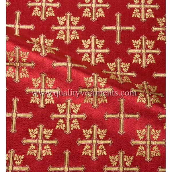 Cross Vestment fabric Brocade Metallic Red white gold purple blue green