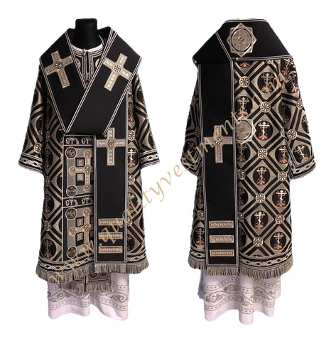Black Vestments for Bishop Embroidered Lightweight Silver TO ORDER