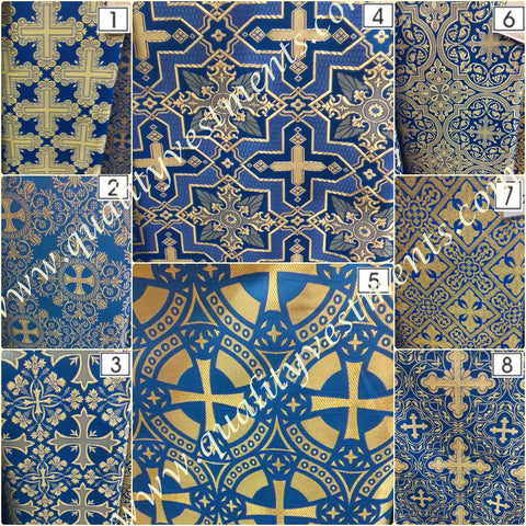 "Blue Cross pattern Vestment Fabric  Nonmetallic 59"" wide"