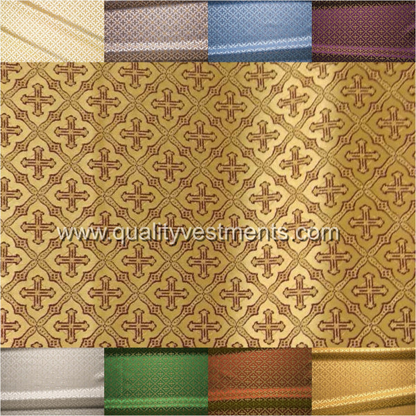 "Small Cross brocade metallic 59"" 150 cm wide Gold Green Blue Purple White Red"