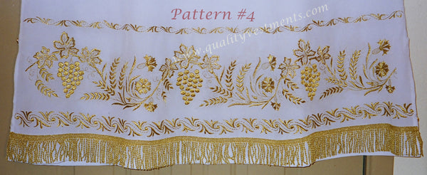 White Stikhar Alb Podsaccossnik Podriznik Embroidered Grapevine Gold or Silver #4