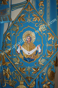 Blue Gold Embroidery Crepe Satin Orthodox Bishop Liturgical Vestment TO ORDER
