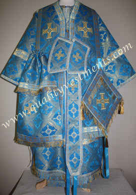 Blue Gold Metallic Fabric Bishop Orthodox Liturgical Vestment TO ORDER