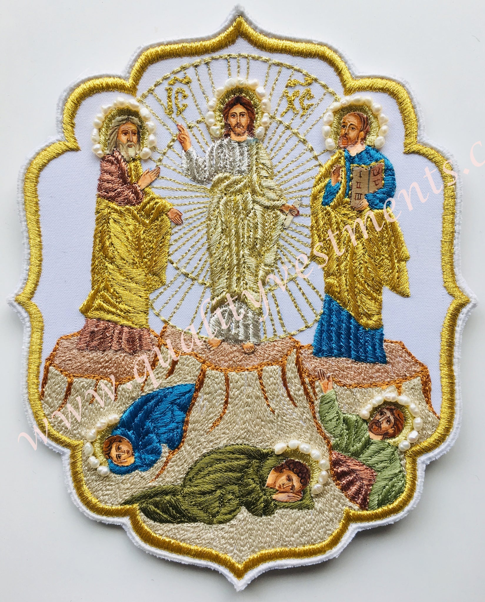 "Transfiguration Icon Embroidered River Pearl Hand Painted Faces 8 3/4"" 21.5 cm"