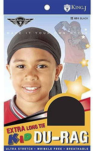 King J Extra Long Kid Du-rag Black #051