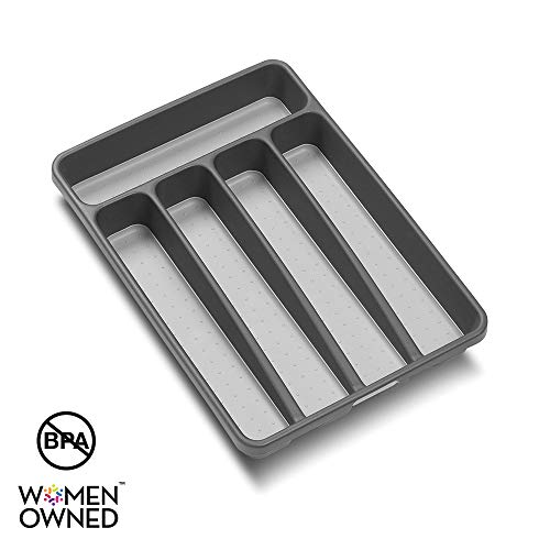 madesmart Classic Mini Silverware Tray - Granite - CLASSIC COLLECTION - 5-Compartments - Soft-grip Lining and Non-slip Rubber Feet - BUZOK