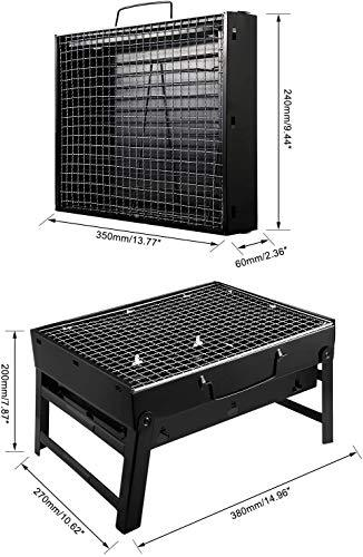 UTTORA Charcoal Grill Barbecue Portable BBQ - Stainless Steel Folding Grill Tabletop Outdoor Smoker BBQ for Picnic Garden Terrace Camping Travel 15.35''x11.41''x2.95'' - BUZOK