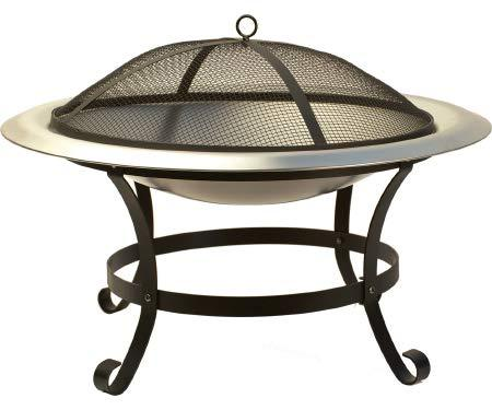 "Harbor Gardens LF17XSS Veranda 30"" Fire Bowl/Pit, Powder Coated Stainless Steel - BUZOK"