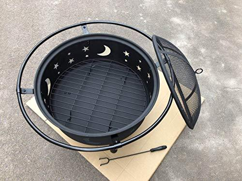 30 Inch Patio Fire Pit - Cosmic for Outdoor with Charchol Grill and Spark Screen - By HomeRoots - BUZOK