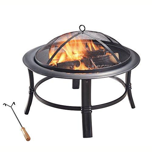 "Peaktop CU297 Round Steel Charcoal Wood Burning Fire Pit Bonfire with Spark Screen and Fireplace Poker for Outdoor Patio Garden Backyard Decking, 26.0"", Black - BUZOK"