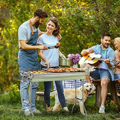 Portable Charcoal Grill, Foldable BBQ Grills Outdoor Cooking Charcoal Barbeque for Picnic, Camping, Patio Backyard Cooking - 39.37x 13.19 x 27.56 inch - with Storage Bag & Non-Stick Frying pan - BUZOK