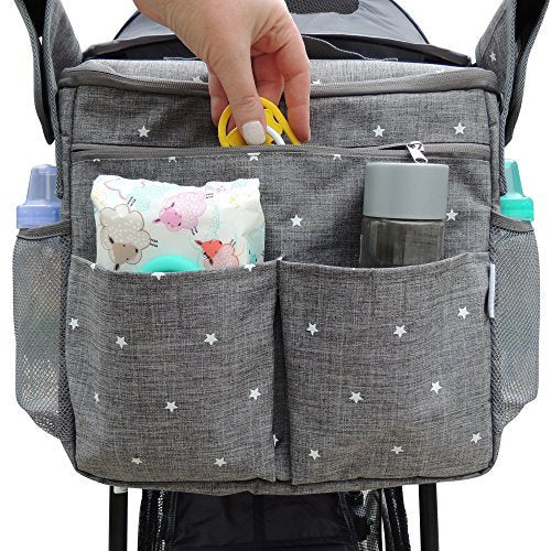 Universal Parents Diaper Organizer Bag with Stroller Attachments. Large Strollers Insulated Baby Bag. Gift for Newborns, Infants, Toddlers, Babies. 3 Ways to Carry - Shoulder, Messenger Bag, Backpack. - BUZOK